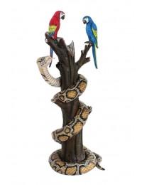 Papageien mit Python auf Baum