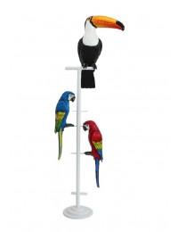 Tukan und 2 Papageien auf weißem Ständer