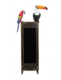Vogel Tukan und Papagei auf Angebotstafel