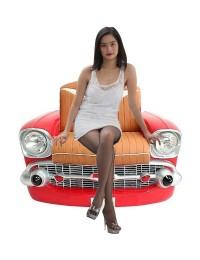 Sitz Chevy Front Rot mit braunem Polster
