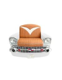 Sitz Chevy Front Weiß mit braunem Polster