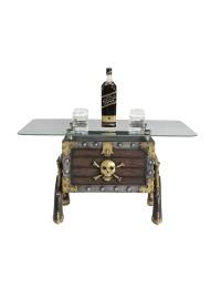 Piraten Schatztruhe mit Pistolen Tisch mit Glasplatte