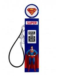 Oldschool Zapfsäule Blau mit Superman als Wanddeko groß