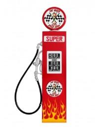 Retro Tankstelle Rot mit Flammen als Wanddeko groß