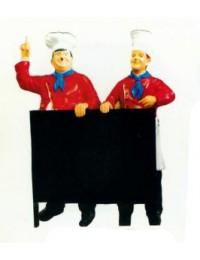 Dick und Doof als Koch hinter Menütafel