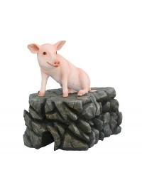 Schwein rosa sitzend