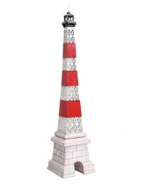 Leuchtturm Gitter rot weiß auf Säule klein