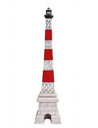 Leuchtturm Gitter rot weiß auf Säule groß