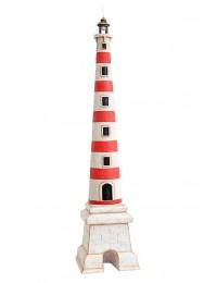 Leuchtturm rot weiß auf Sockel