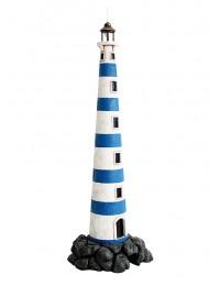 Leuchtturm blau weiß auf Stein