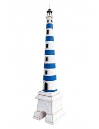 Leuchtturm blau weiß auf Sockel