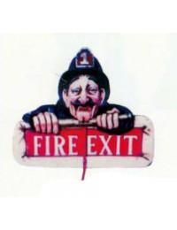 Feuerausgang *Fire Exit* Schild mit Feuerwehrmann