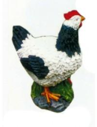 große Henne schwarz weiß