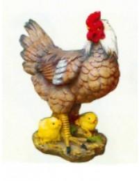 brauner Hahn mit Küken