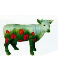kleine Kuh mit Mohnwiese bemalt