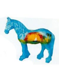 kleines blaues Pferd mit Sonnenuntergang und Boot