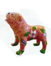 Bulldogge mit Blumenmuster