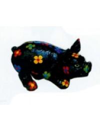 schwarzes Schwein mit bunten Blüten klein