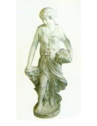 antike Frau mit Blumen unterm Arm