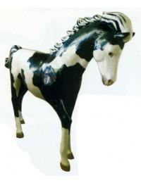 schwarz weiß geflecktes kleines Pferd