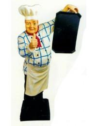 Koch im kariertem Hemd mit Angebotstafel