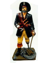bewaffneter Pirat auf Holzbein bewacht Schatz