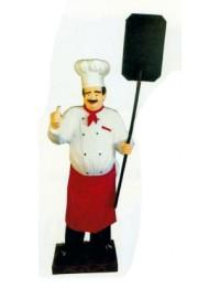 großer Koch mit Daumen und Angebotstafel rot