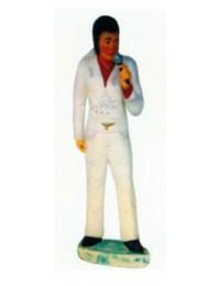 Elvis in weiß singend am Mikrofon klein