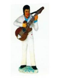 Elvis in weiß spielt Gitarre klein
