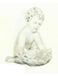 antiker Engel sitzend mit Taube