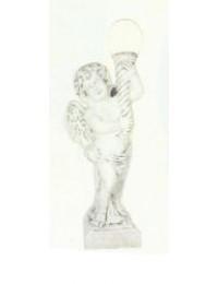 stehender antiker Engel mit Fackellampe