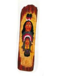 Totempfahl klein mit 2 Indianerköpfen