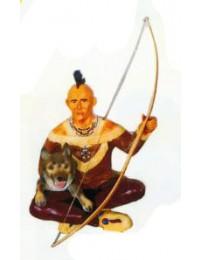 sitzender Indianer mit Wolf und Bogen Variante 1