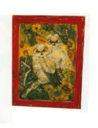 Bemaltes Bild mit zwei Eulen