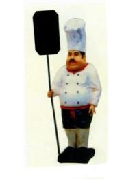 kleiner dicklicher Koch mit Angebotsschild
