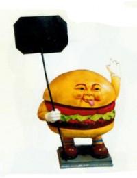 kleiner Hamburger mit Werbetafel
