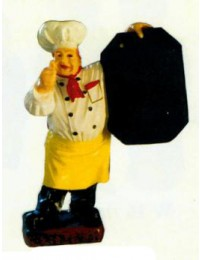 Koch mit Daumen oben und Angebotstafel klein