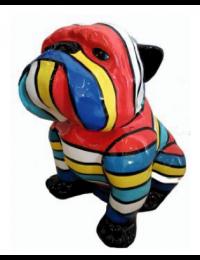 Hund Bulldogge sitzend bunt gestreift klein