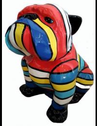 Hund Bulldogge sitzend bunt gestreift