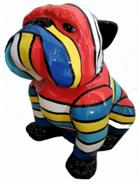 Hund Bulldogge sitzend bunt gestreift medium