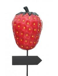 Erdbeere als Schild mit Wegweiser