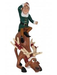 Comic Elf sitzt auf Rentier