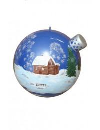 Blau glänzende Weihnachtskugel mit Wintermotiv
