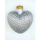Weihnachtskugel in Herzform Silber glitzernd