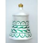 kleine Weihnachtskugel in Glockenform Silber-Grün