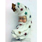 Christbaumschmuck Weihnachtsmanngesicht mit Bart und Sternchen