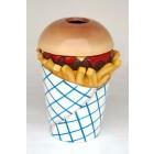 Abfalleimer Pommestüte mit Hamburger