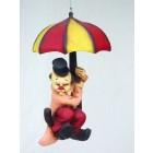 Clown fliegend mit Sonnenschirm