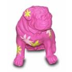 Mops pink mit dekorativer Blumenbemalung modern