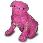 Mops pink mit dekorativer Blumenbemalung